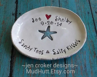 Sandy Toes Salty Kisses Personalized wedding dish ring bearer pillow clay dish engagement gift beach wedding starfish ring holder