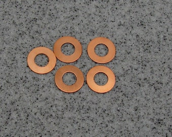 """3/4"""" Copper Washer 24 Gauge 3/4""""OD/9mmID Pack of 5"""