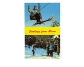 Vintage 50s Maine Post Card Ski Snow Mountains Fir Trees Skiing Sugarloaf Ski Lift Sunday River