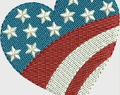 Mini heart American flag embroidery designs 4 sizes