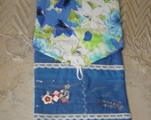 Travel Jewelry Pocket Wallet,Clear Pocket Jewelry Organizer,Blue & White Floral Fabric, Travel Jewelry Pocket Organizer,Jewelry Storage