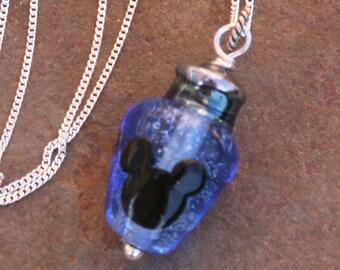 Light Blue Translucent Christmas Light Mickey Style Disney Inspired Lampwork Bead DeSIGNeR Necklace Holiday Christmas