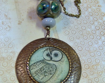 Resin Pendant With Vintage Style Owl Prints-Owl Necklace-Vintage Style Necklace-Handmade Resin Pendant-Lampwork Necklace-SRAJD