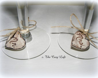 Rustic  Wedding Heart Wine/Champagne Charm Mr & Mrs for Toasting Glasses - Any Color or Glitter Shabby Cottage Chic Small Hearts