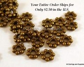 50 Daisy Spacer Bead Antique Bronze 4mm LF and NF - 50 pc - M7010-AB50