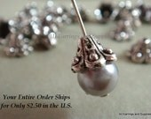 25 Flower Bead Caps Antique Silver Fancy Flower Cone Tibetan Silver LF/CF/NF 10x6mm - 25 pc - F4034BC-AS25