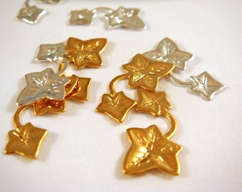 SALE - 8 Double Leaf Drop Charm Gold and Silver Plated Single Sided Ivy Leaves 17x9mm - 8 pc - 6353-13