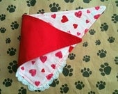 Smal Dog Valentine Bandana With Lace Trim and Choice Of Red or Pink Lining