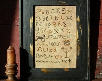Primitive Cross Stitch Sampler Early Style Eliza Forget Me Not Instant Download PDF Pattern