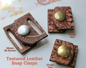 Textured Leather Snap Clasp ~ 40mm wide for Beaded Designs