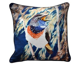 XL Cushion cover for throw pillow with bird - Bluethroat - 24x24inch // 60x60cm