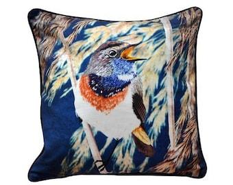 XL Cushion cover for throw pillow with bird - Bluethroat - 24x24inch // 60x60cm
