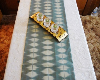 """TABLE RUNNER - Light Aqua with Pale Beige - Abstract/Contemporary Pattern - Table Decor - 53-1/2"""" x 14"""" - Item #TR272010"""