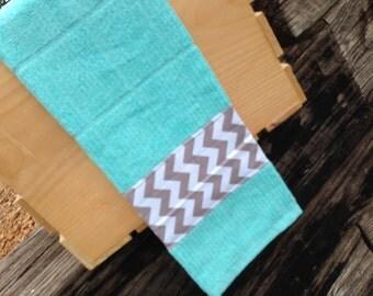 Grey Chevron + Aqua Terry Hand Towel