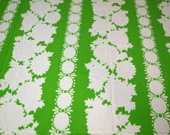 vintage 60s polyester fabric featuring bold hawaiian style print, 1 yard, 2 available priced PER YARD