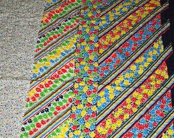 SALE vintage 60s cotton seersucker fabric, featuring great floral border print design, 1 yard