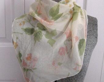 Watercolor Rose scarf .  Silk Scarf . pik roses scarf