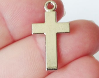15 Cross Charms (double sided) 13x24x1mm