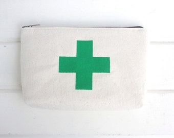 Green Cross Canvas Pouch