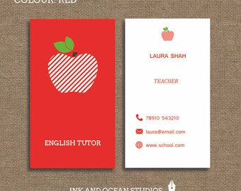 Printable stylish elegant teacher, tutor,  education business card, calling card for your business in a choice of 4 colours