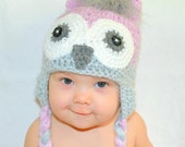 Baby Girl Orchid Pink Grey Owl Crochet Earflap Hat - All Sizes Available