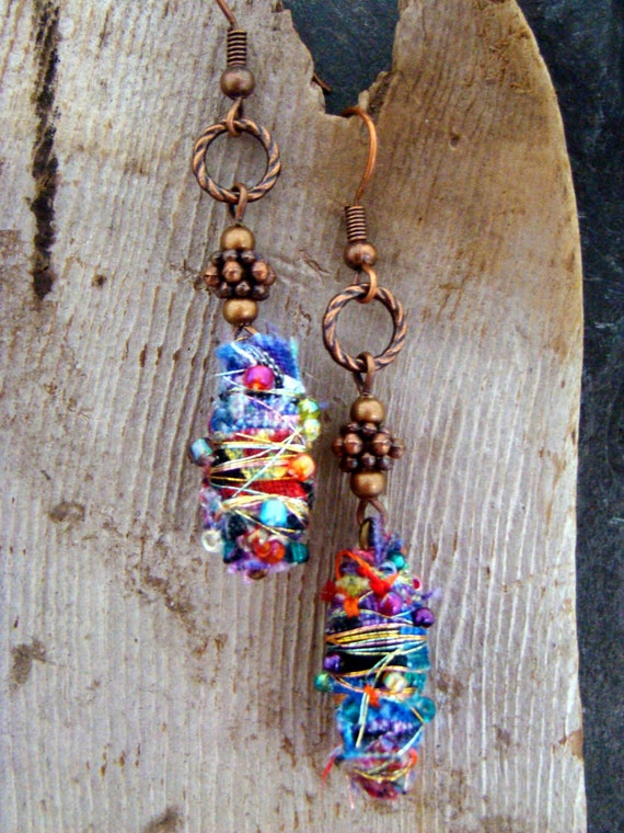 Colorful Boho Hippie Embellished Fabric Bead Earrings