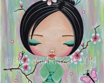 Art Print, Girls Room, Kokeshi Doll, Square, Japanese, Kawaii, Green, Cherry Blossoms, Butterfly, Nursery Art