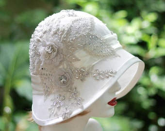 20's Bridal Hat, Wedding, Vintage Style Wedding, Silver, Bridal Headpiece, Cloche, Rhinestone Beaded White Lace