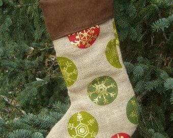 Rustic Burlap Christmas Stocking - Snowflake Stocking - Burlap with Ornaments - Lined Burlap Stocking - Large Hanging Loop - Micro Suede Top
