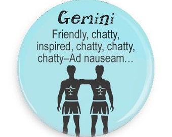 "Funny Gemini Magnet, Gift for June Brithdays, 2.25""  Round Magnet, Baby Blue"