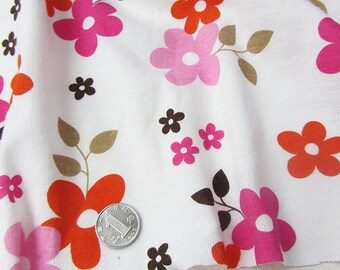 3808 - Flower Cotton Jersey Knit Fabric - 69 Inch (Width) x 1/2 Yard (Length)