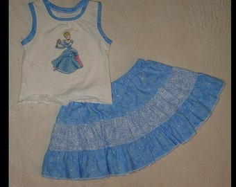Disney's Cinderella Inspired Appliqued Knit Tank and Ruffled Tier Skirt(-----)Size 18 months and READY to SHIP