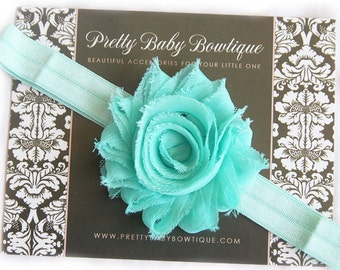 Baby Headband - Mint Infant Headband - Mint Flower On Mint Stretch Baby GirlHeadband