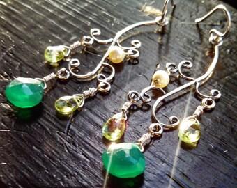 New Beginnings - Wire Wrapped, Green Onyx, Peridot, Swarovski Pearl, Sterling Filled Earwires, Sterling Silver Earrings