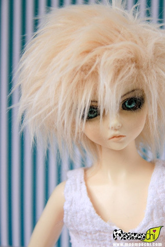 Akasarushi color Soft Blonde Fur Wig Made for abjd doll size SD MSD tiny yosd and puki