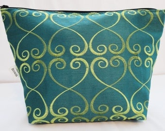 Makeup Bag, Cosmetic Bag, Zipper Pouch - Turquoise Swirl