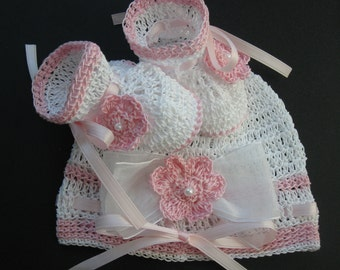 Crocheted Newborn Baby Infant Hat and Booties Set Crochet Baby Girl Bonnet Crib Shoes Knit Baby Beanie and Booties Crochet Reborn Doll Shoes