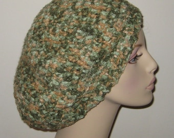 Slouchy Beret Dread Tam Hat in Greens and Tan