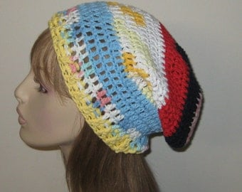 One of a Kind Cotton Slouchy Beanie Dread Tam Hat