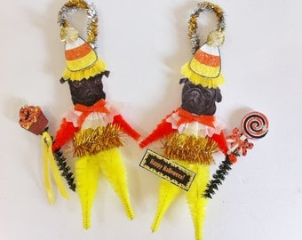 Pug HALLOWEEN candy corn vintage style CHENILLE ORNAMENTS set of 2