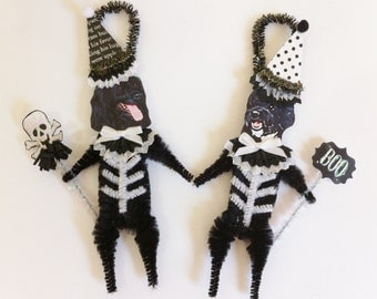 Portuguese Water Dog SKELETON Halloween vintage style CHENILLE ORNAMENTS set of 2