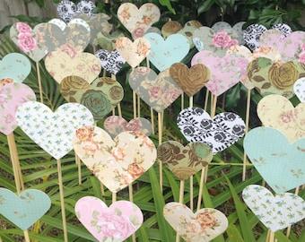 200 Shabby Chic Roses Hearts On A Stick - Wedding Aisle Decoration Beach Wedding Garden Wedding Baby Shower decoration Baby's first birthday