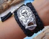 Skull and Crossbones Jewelry, Skull Jewelry, Skull and Crossbones Leather Wrap Bracelet, Silver Leather Wrap Bracelet, Skull Bracelet, Wrap