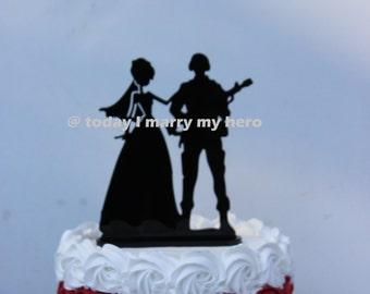 Military Army Soldier  Wedding Cake topper Groom gun silhouette helmet hero