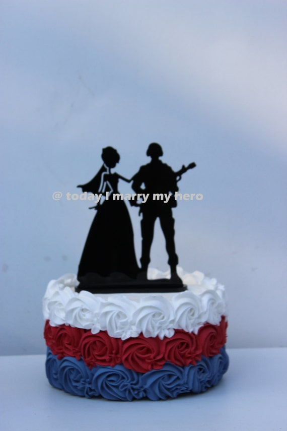 Military Army Soldier  Wedding Cake topper Groom gun silhouette helmet hero
