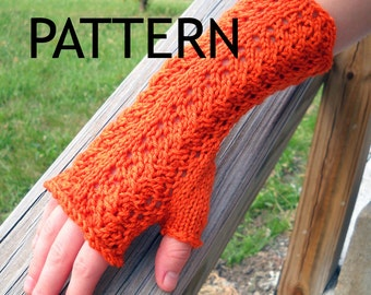 Knit Pattern - Vine Lace Fingerless Gloves - Instant Download