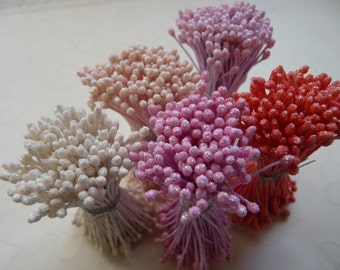 One bundle of Floral Stamen with Double Sided Matte Sparkling Tips -- You Pick the Color