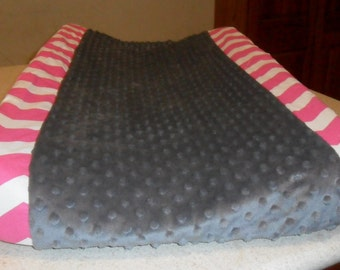 Hot Pink Chevron and Gray Minky Dot Changing Pad Cover