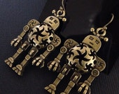 Steampunk Rustic Brass Robot Earrings Uniquely Detailed