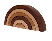 wooden toy rainbow nesting stacking kids toy personalized puzzle